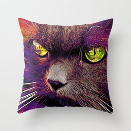 persian cat great eyes evil look vector art late sunset Throw Pillow