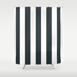 Gunmetal grey - solid color - white vertical lines pattern Shower Curtain