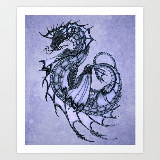 """Tsunami"" by Amber Marine ~ Sea Dragon (Amethyst Version) ~ Graphite/Charcoal Illustration, (c) 2005 Art Print"