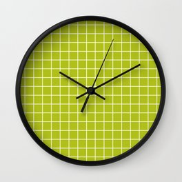 Acid Green - Green Color - White Lines Grid Pattern Wall Clock
