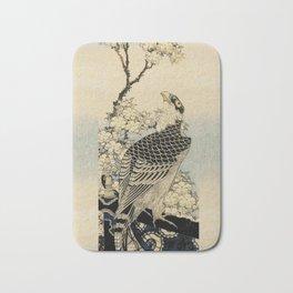 Hokusai -falcon next to a plum tree in bloom - 葛飾 北斎,hawk,bird. Bath Mat
