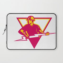 Power Lineman With Thunderbolt Triangle Laptop Sleeve