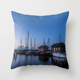 Blue hour at harbour I - Ocean Summer Night Boats Throw Pillow