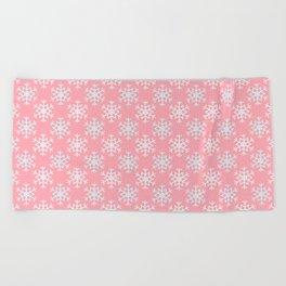 Pretty Pink Snowflake Pattern Beach Towel