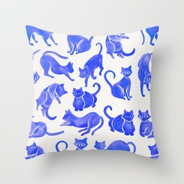 Cat Positions – Blue Palette Throw Pillow