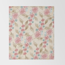 Vintage Floral Pattern (Color) Throw Blanket