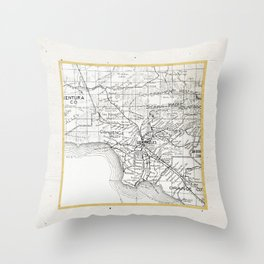Vintage Los Angeles City Gold Foil Location Coordinates with map Throw Pillow
