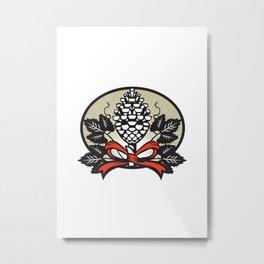 Thyrsus Pine Cone Staff Leaves Oval Retro Metal Print