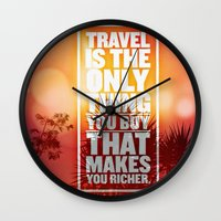 love quotes Wall Clocks featuring Quotes - Travel by MehrFarbeimLeben