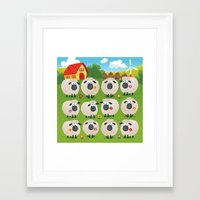 sheep Framed Art Prints featuring Sheep by Elle Moz