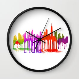 Chicago, Illinois Skyline Puddles Wall Clock