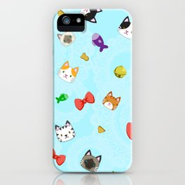 Cat Pattern Cyan iPhone Case