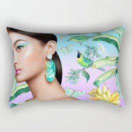 Gia in the Jungle - Blue Rectangular Pillow