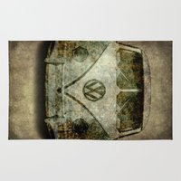vw bus Area & Throw Rugs featuring VW Micro Bus  by BruceStanfieldArtist illustrator