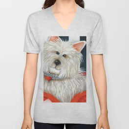 Dog Westie Terrier Original painting Deb Harvey Art Rose Unisex V-Neck
