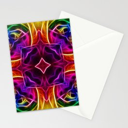Rainbow Rose Kaleidoscope Mandala Stationery Cards