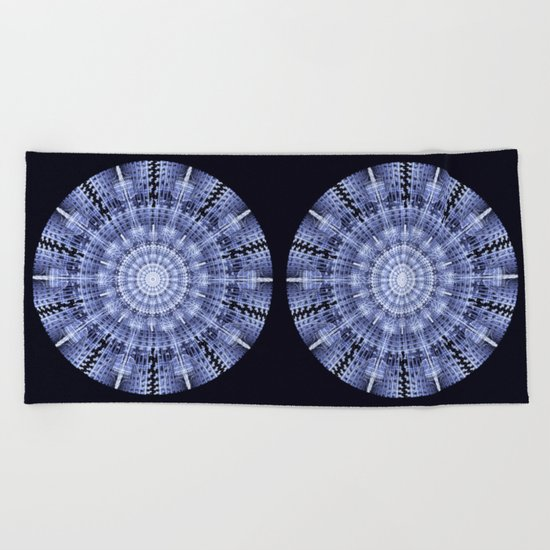 Grunge blue snowflake in a circle Beach Towel