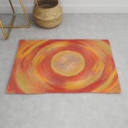Portal. Red orange pastel drawing Rug