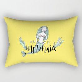 Art yellow sleeping mermaid Rectangular Pillow