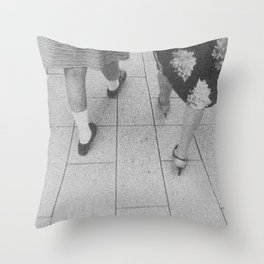 Traces - women walking Throw Pillow