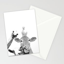 Black and White Farm Animal Friends Stationery Cards