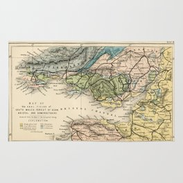 Vintage Map of the Coal Fields of South Wales - Forest Of Dean - Bristol and Somersetshire Rug