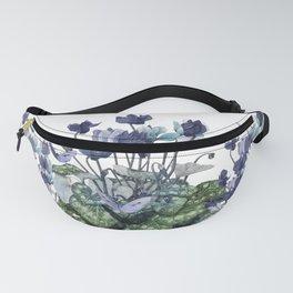 """Spring garden blue cyclamen butterflies"" Fanny Pack"