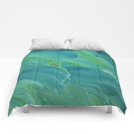 Blue-Green Brush Strokes Comforters