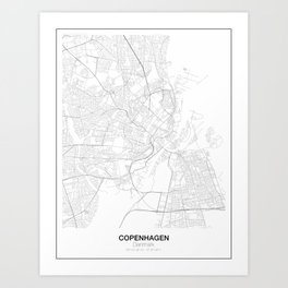 Copenhagen, Denmark Minimalist Map Art Print