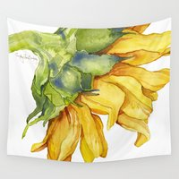 sunflower Wall Tapestries featuring Sunflower by Cindy Lou Bailey