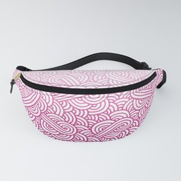 Gradient pink and white swirls doodles Fanny Pack