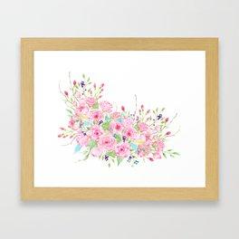 Watercolor Pink Rose Bouquet Framed Art Print