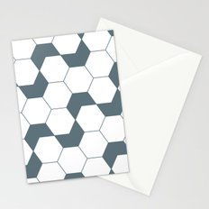 Slate gray hexagon pattern Stationery Cards
