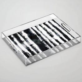 Tie-Dye Shibori Stripe BW Acrylic Tray