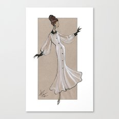 Fashion Illustration - White dress with black cuff & collar Canvas Print