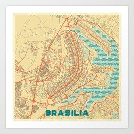 Brasilia Map Retro Art Print