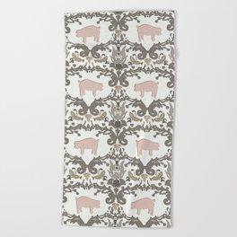 pig damask Beach Towel