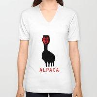 alpaca V-neck T-shirts featuring ALPACA by FUNCIT