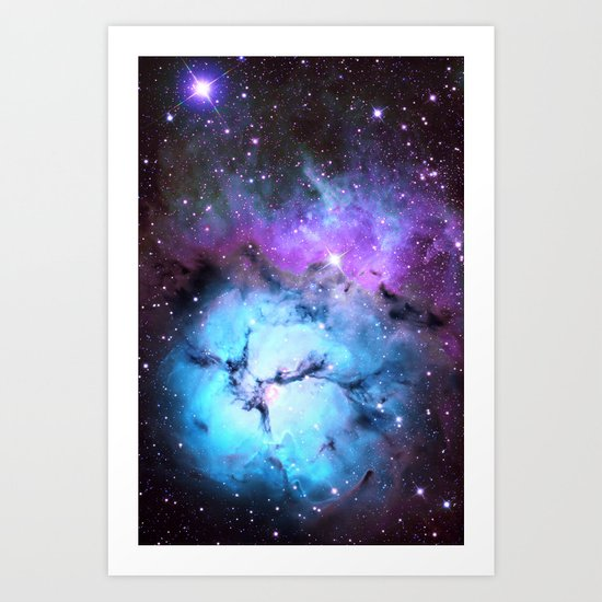 Blue Floral Nebula Art Print