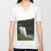 waterfall V-neck T-shirts featuring Waterfall by Sexyshrimp