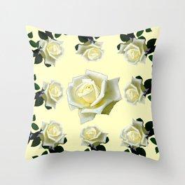 B&W WHITE ROSE GARDEN DESIGN PATTERN Throw Pillow