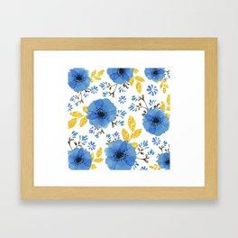 Blue flowers with golden leaves Framed Art Print