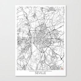 Seville Map White Canvas Print