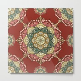 Red, green and gold mandala Metal Print