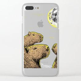 Three moon Capybaras shirt sloth, ferret lovers Clear iPhone Case