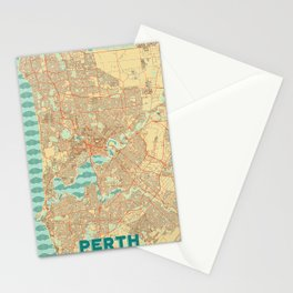 Perth Map Retro Stationery Cards