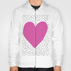 Pink heart with grey dots around Hoody