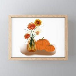 Fall Flowers and Pumpkins Framed Mini Art Print