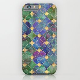 Informe Abstracta Golden Rings Aqua Green Abstract Circle Pattern  iPhone Case