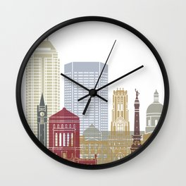 Indianapolis skyline poster Wall Clock